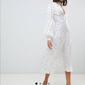 NWOT ASOS Polka Dot Satin Midi Dress, Size UK8/US4